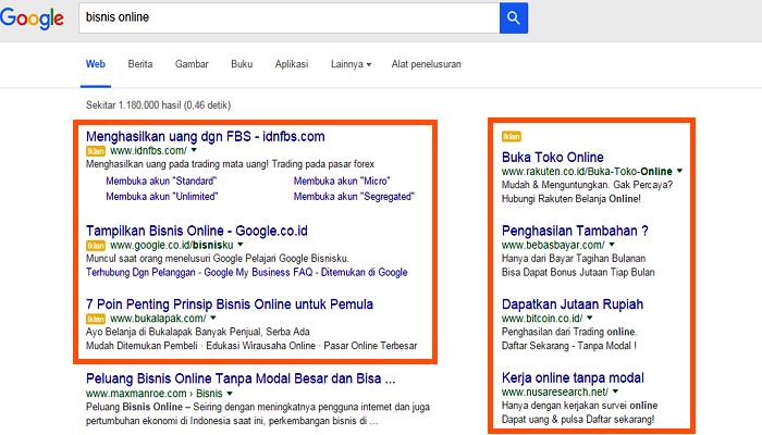 Contoh tampilan Google AdWords pada halaman Google