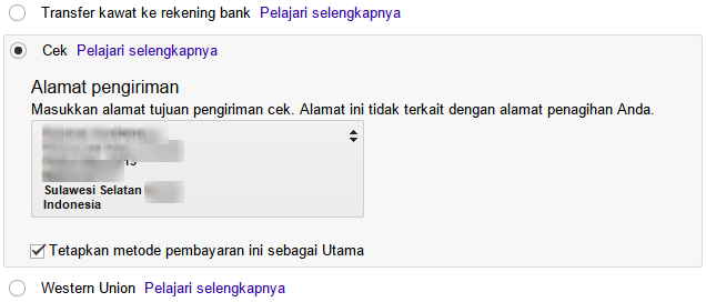 pembayaran google adsense - transfer - 2