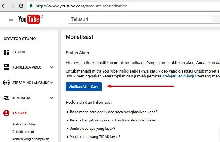 Gambar 2 : daftar google adsense melalui youtube