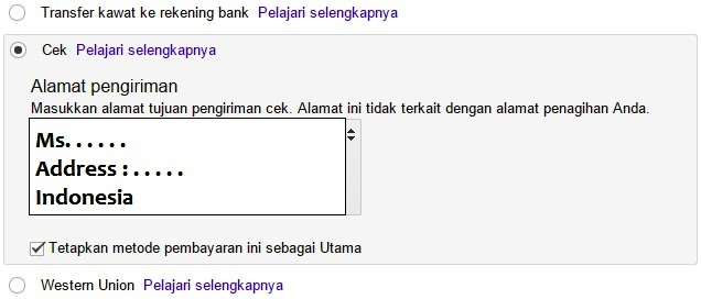 gambar 1. bayar google adsense - cek