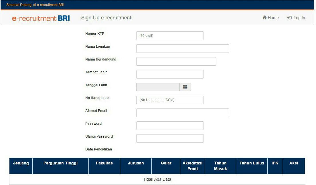 Kolom Pengisian Lowongan Kerja di Website BRI