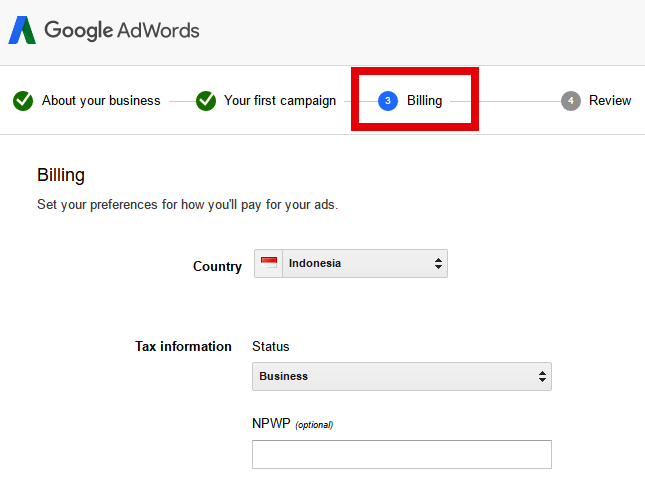 Tampilan billing di AdWords