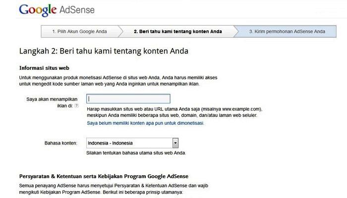 daftar google adsense melalui blog - tahap 2