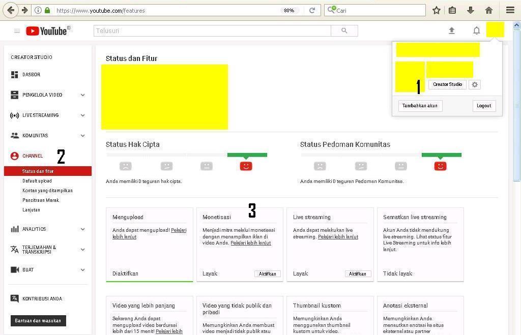 Gambar 1 : daftar google adsense melalui youtube