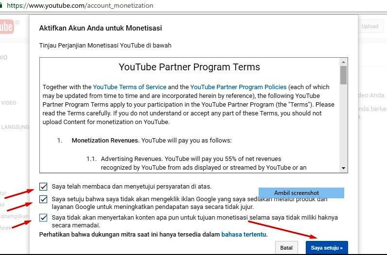 Gambar 3 : daftar google adsense melalui youtube