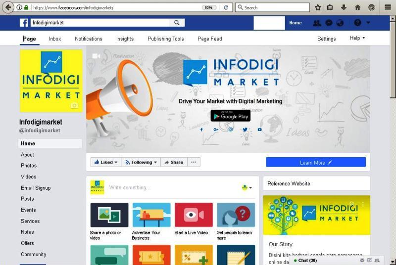 Contoh Facebook Page Infodigi Market untuk keperluan iklan Facebook